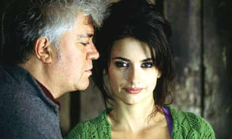 Penelope Cruz and Pedro Almodovar appear in a publicity shot for their film Volver