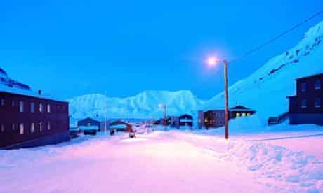 A snow-covered road in Longyearbyen, Svalbard