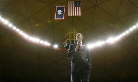 Democratic presidential candidate Barack Obama speaks in Laramie, Wyoming