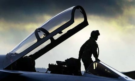 Squadron leader Tim Bullement with his F3 Tornado at RAF Leuchars