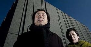 Zhu Pei and Wu Tong, architects of Studio Zhu Pei, in front of their creation Digital Beijing