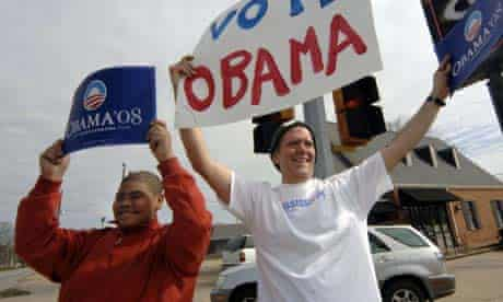 Barack Obama supporters in Meridian, Mississippi. Photograph: Marianne Todd/Getty Images