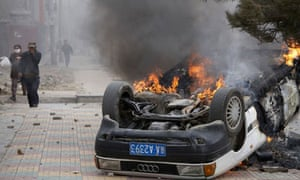 Burning car in Tibet