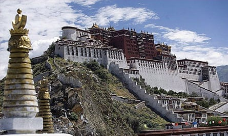 The Potala palace, former home of the exiled Dalai Lama in the heart of Lhasa, Tibet.