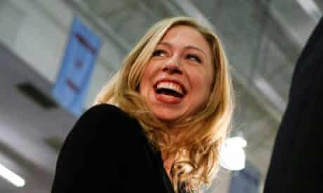Chelsea Clinton smiles during a campaign rally for her mother