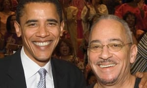 Barack Obama with his former pastor, the Reverend Jeremiah Wright of Trinity United Church of Christ in Chicago, March 10, 2005. Photograph: AP