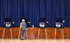 A woman votes in the C Lawton McCall community centre in Miami Shores during the Florida primary on January 29