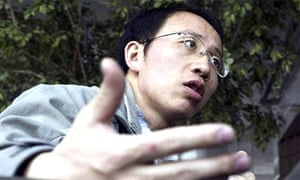 Outspoken Chinese activist Hu Jia is interviewed at a cafe in Beijing in this March 2006