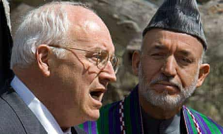 The US vice-president, Dick Cheney, addresses the media alongside the Afghan president, Hamid Karzai