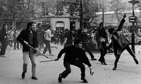 Students hurling projectiles against the police on the Boulevard Saint Germain, Paris, May 6 1968