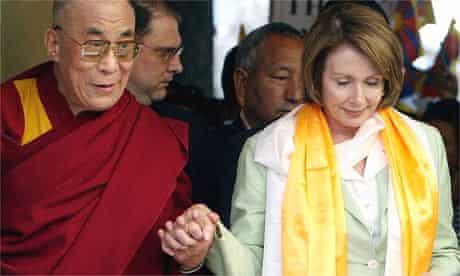 The Dalai Lama with the US House of Representatives speaker, Nancy Pelosi, in Dharamsala
