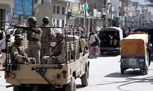 Paramilitary soldiers guard the streets in Quetta, Pakistan