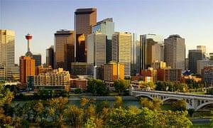The city skyline of Calgary, in Alberta, Canada