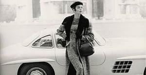 Model in front of a Mercedes in Paris in 1955