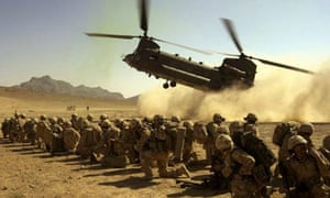 A CH-47 helicopter coming in to land carrying the final members of K Company in Afghanistan