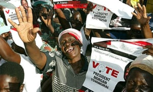 Supporters of the opposition leader Morgan Tsvangirai at a rally in his home town Buhera on March 25 2008