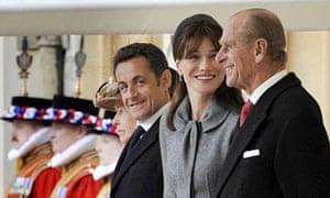 Queen Elizabeth II and Nicolas Sarkozy.