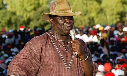 Zimbabwean opposition Movement for Democratic Change (MDC) leader Morgan Tsvangirai addresses his supporters at an election rally in his home town of Buhera.