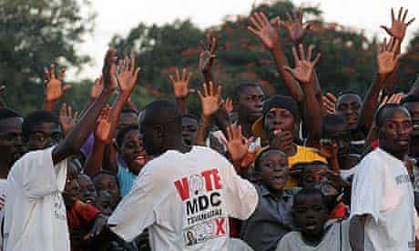 Suppoters of the Movement for Democratic Change (MDC) celebrating after the elections, in Harare, Zimbabwe
