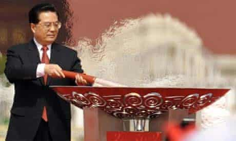 Hu Jintao with the olympic torch