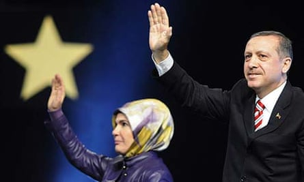 The Turkish prime minister Recep Tayyip Erdogan and his wife Ermine Erdogan