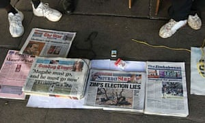 Newspapers on sale in Zimbabwe following the election