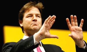 Liberal Democrat Leader Nick Clegg gives his keynote speech at his party's spring conference at the Echo arena in Liverpool