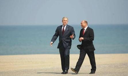 George Bush and Traian Basescu