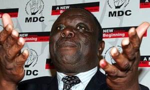 Morgan Tsvangirai  at a press conference