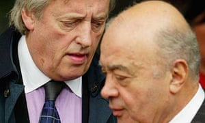 Mohamed Al Fayed and his barrister Michael Mansfield QC arrive at the high court in London