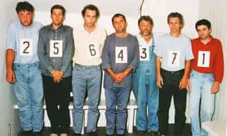 Paparazzi photographers Romuald Rat, Serge Arnal, Jacques Langevin, Nikola Arsov, Laslo Veres, Christian Martinez and Stephane Darmon, who were taken into custody after the crash killed Diana. They were cleared of manslaughter charges in a French court.