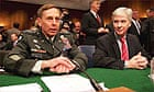 General David Petraeus, commander of the multinational force in Iraq, and the US Ambassador to Iraq, Ryan Crocker, answer questions from the Senate armed services committee on Capitol Hill, Washington DC.