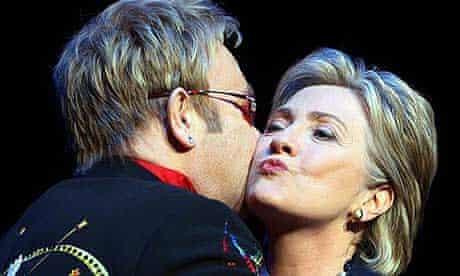 Elton John kisses Hillary Clinton at a fundraiser in New York