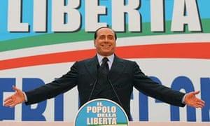 Silvio Berlusconi at a campaign rally in Rome