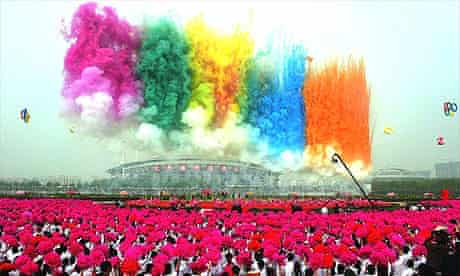 Fireworks kick off the opening ceremony of the 26th Luoyang Peony Fair in Luoyang, in central China's Henan province, as part the continuous celebrations to welcome the 2008 Beijing Olympic Games.