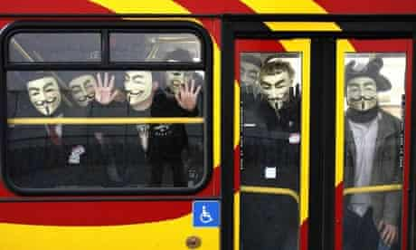 Protesters arrive by bus to join an anti-Scientology demonstration outside the Church of Scientology in London