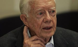 Former US president Jimmy Carter during his visit to the Barzilai hospital in Israel