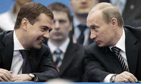 Dmitry Medvedev and Vladimir Putin at the United Russia party congress