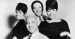 A portrait of the American gospel group The Staple Singers, taken in the 1960s. Clockwise from left: Mavis Staples, Pervis Staples, Cleotha Staples, and Roebuck 'Pop' Staples