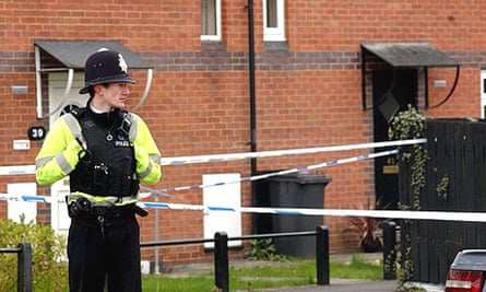 A police officer at Comb Paddock, in Westbury-on-Trym, Bristol after a controlled explosion was carried out.