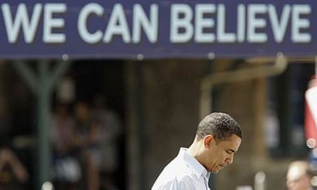Democratic presidential hopeful Barack Obama waits to take the podium during a campaign stop in Wynnewood, Pennsylvania
