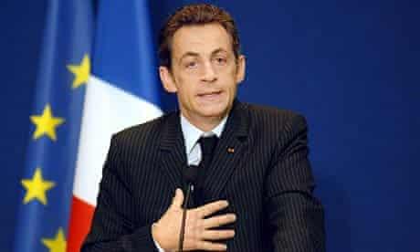 Nicolas Sarkozy speaking on climate change.