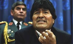 Evo Morales at a UN press conference