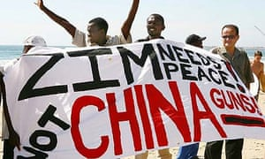 People protesting in Durban against the offloading of arms from China destined for poverty stricken Zimbabwe