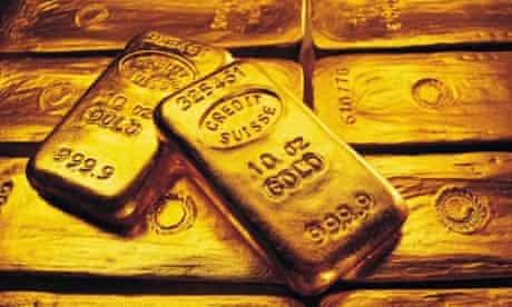 Gold ingots bearing the Credit Suisse logo