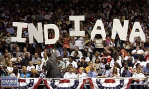 Barack Obama supporters spell out the name of their state in Evansville, Indiana