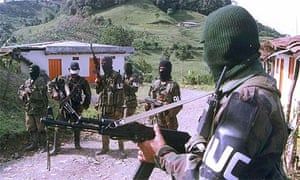 A group of paramilitaries in Tulua, about 200 miles south-west of Bogota, Colombia