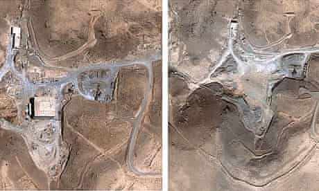 The suspected nuclear facility site in Syria before (l) and after an Israeli air strike in September 2007.
