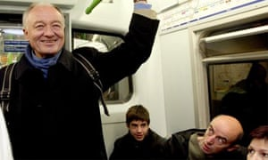 Candidate for London Mayor, Ken Livingstone, on a District line tube train