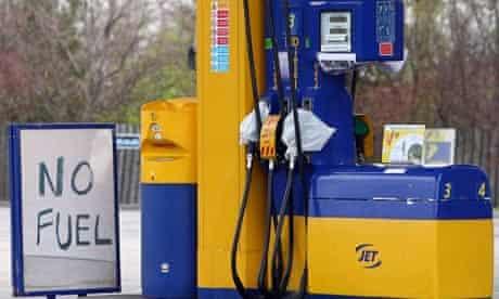A petrol station near the Grangemouth refinery in Scotland